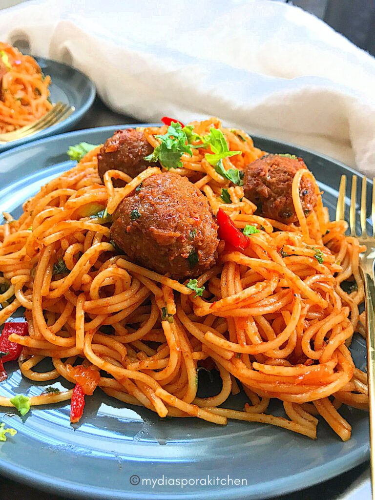 Kale Jollof Spaghetti and Meatballs