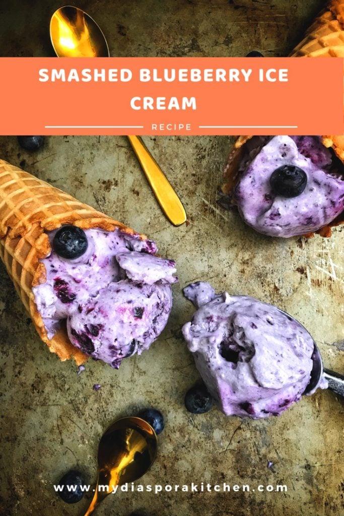 Smashed blueberry ice cream