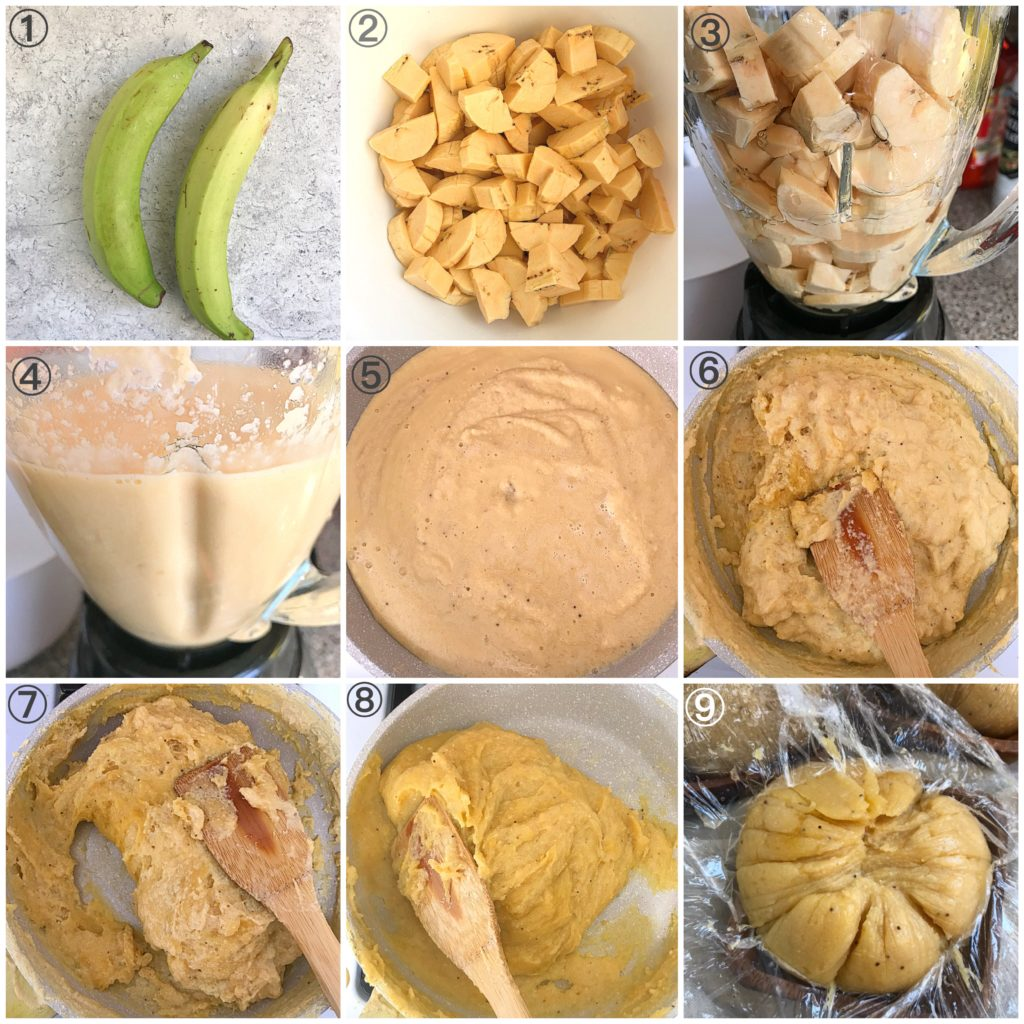 Process shots on how to make plantain swallow