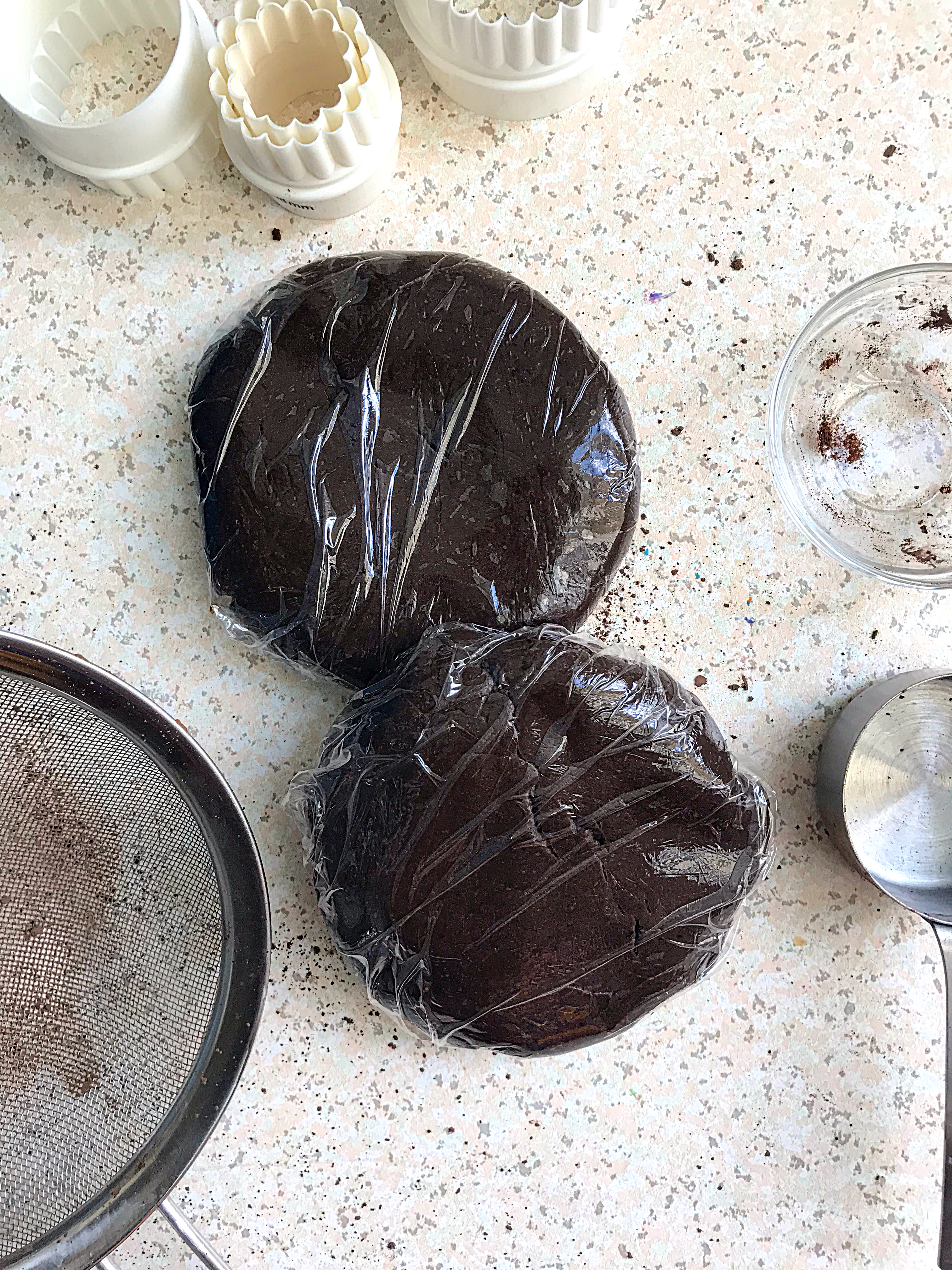 two wraps chocolate cooke dough wrapped in cling film