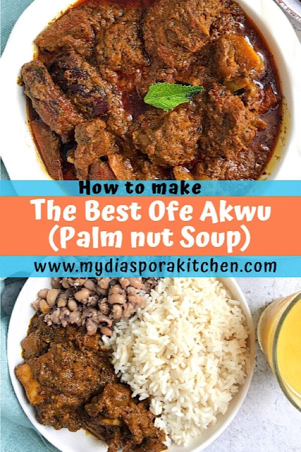 Ofe Akwu | Palm nut Soup served with white rice and black eyed peas