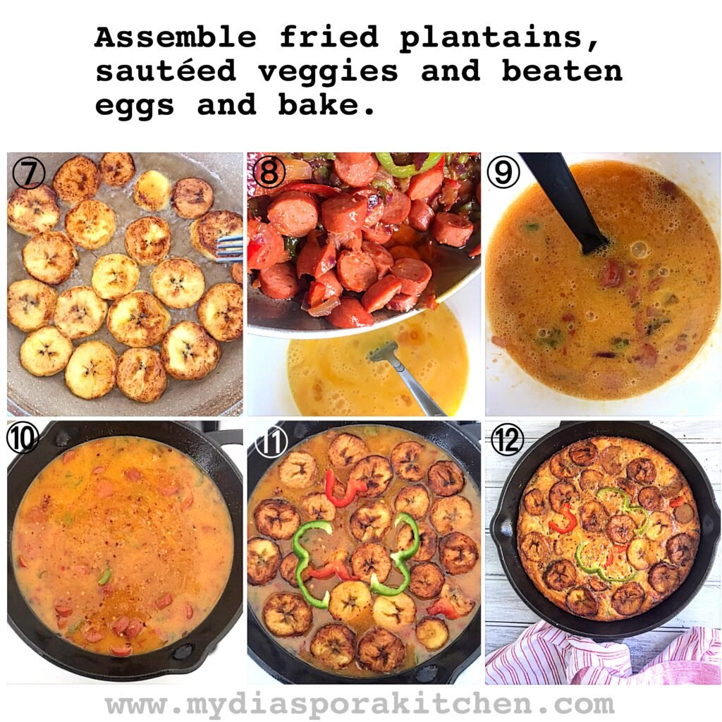Pictorial Steps to make Plantain Frittata
