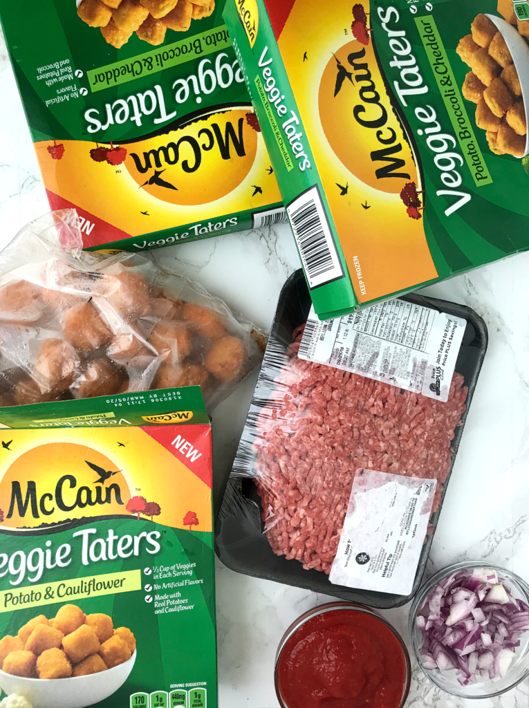 McCain Veggie Taters boxes, and mince ground beef, tomato sauce and chopped onions