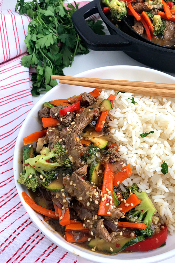 Beef Stir fry and vegetables served over rice