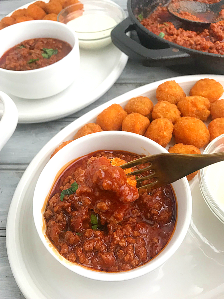 McCain Veggie Taters tots in plate and mince beef sauce