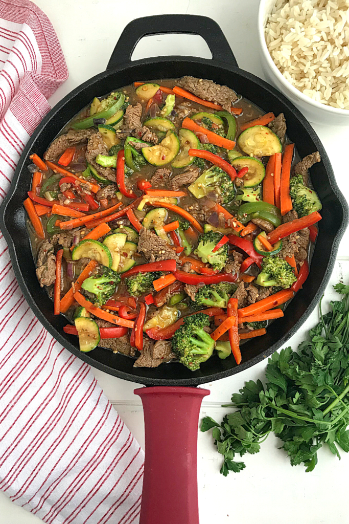 Beef Stir fry and vegetables in a skillet