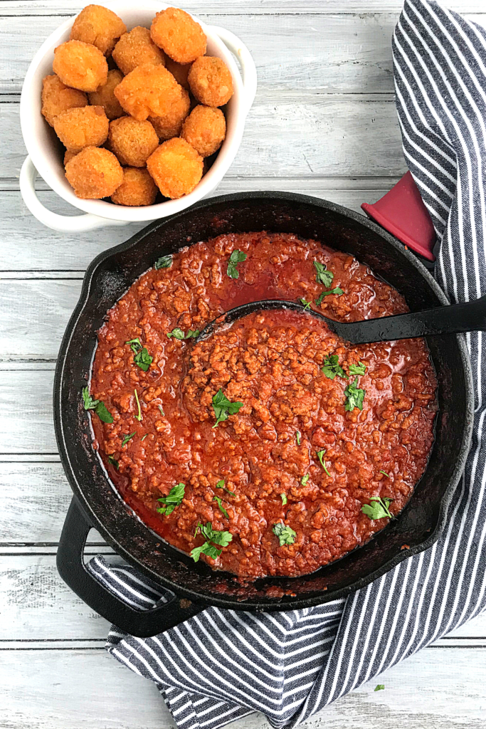 McCain Veggie Taters tots in plate and mince beef sauce in a skillet
