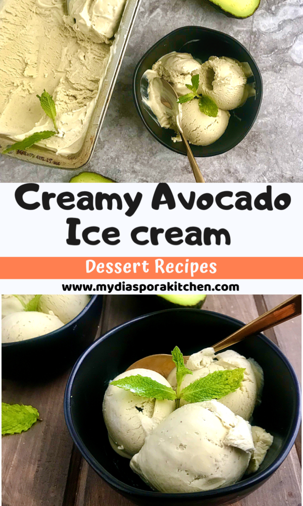 collage showing avocado ice cream in black bowls