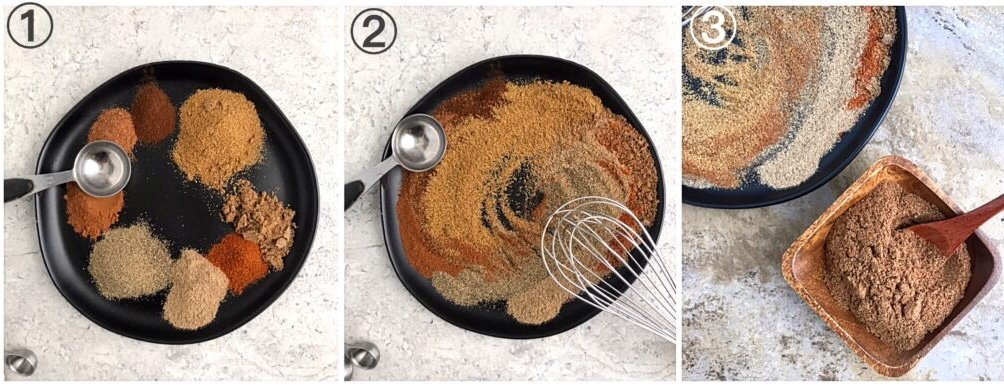 Collage showing steps to making a very popular indian spice mix