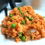 close shot of Air fryer Mexican rice