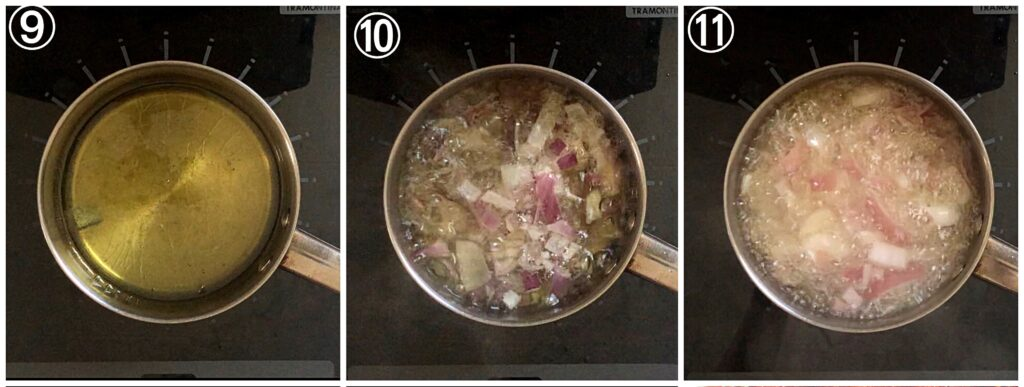 A collage showing chopped Onions being fried for Stew