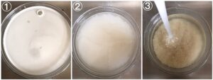 collage showing how to wash rice till water runs clear