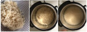 A collage showing steps 4-6 when making instant pot basmati rice