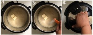 Collage showing basmati rice in the instant pot with butter and salt added