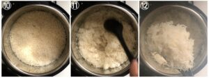 collage showing cooked instant pot basmati rive being fluffed up