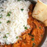 Top view of instant pot basmati rice and chicken tikka masala