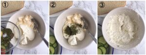 collage showing a bowl of mayonnaise and cream cheese with spice blend being added and mixed into it