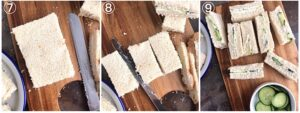 collage showing the making of the cucumber tea sandwiches