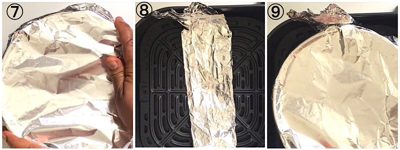 A collage showing a pan covered with foil for cooking air fryer Mac and cheese