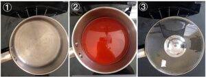 collage showing palm oil in a pot being bleached
