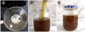 transfering bleached palm oil into a clean jar