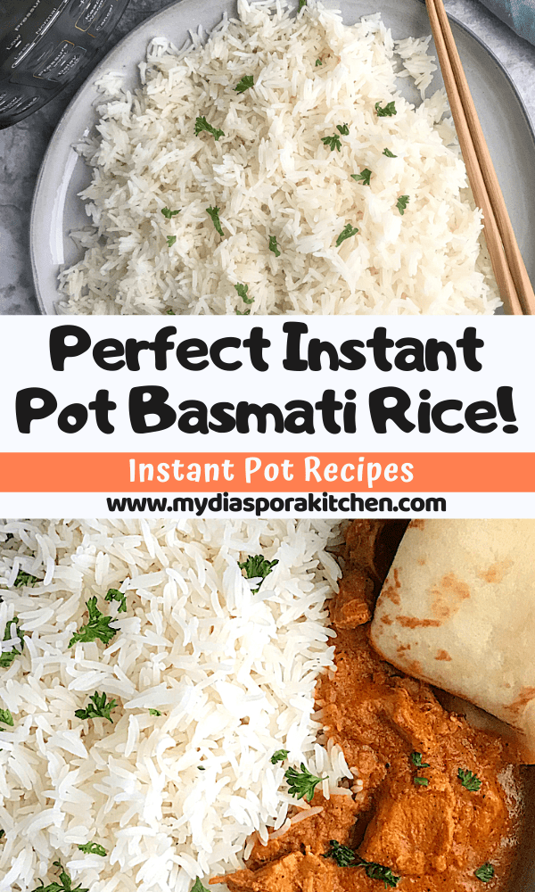 pInterest collage showing Instant pot basmati rice, one plain the other served with tika masala