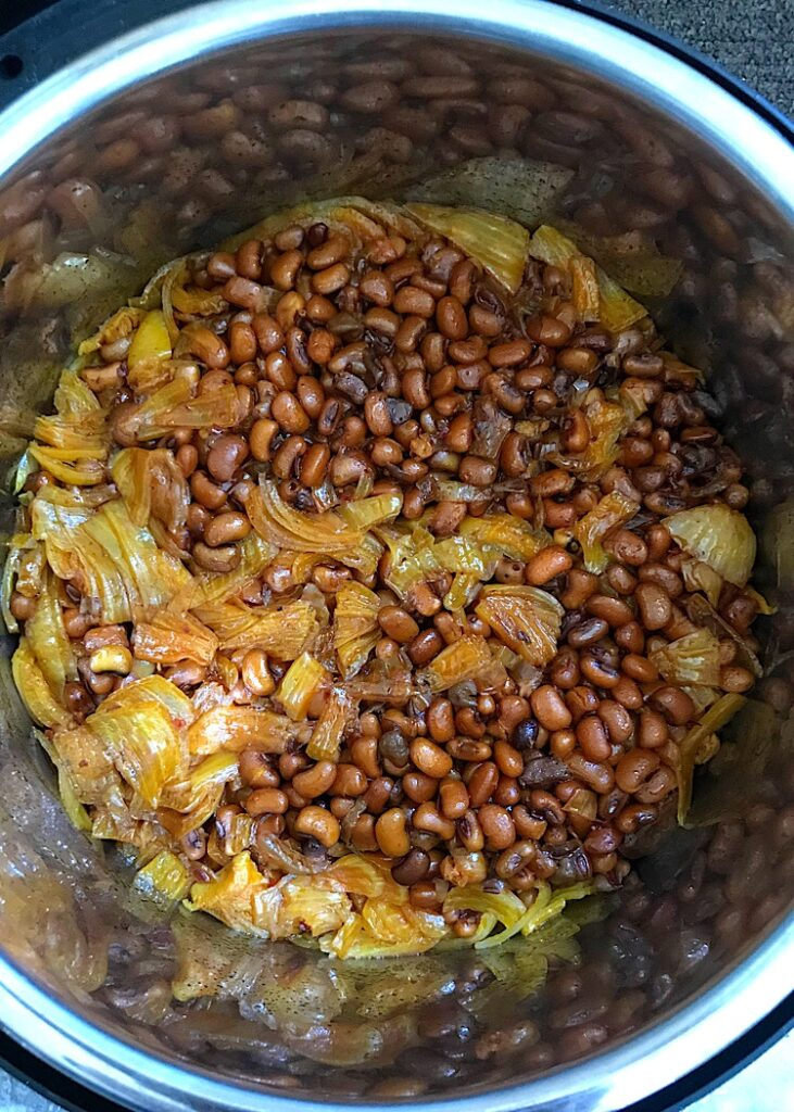 Instant Pot brown beans still in the inner pot
