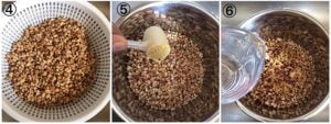 Collage showing brown beans in the instant pot, additon of water and bouillon powder